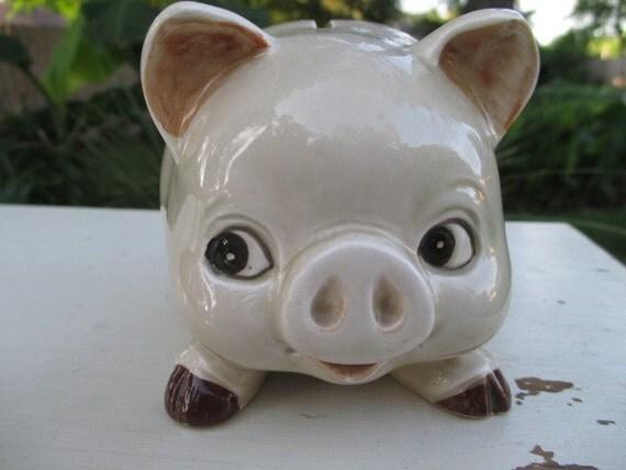 Rare Omc Pottery Ceramic Vintage Piggy Bank By
