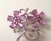 Vintage pink flowers brooch pin