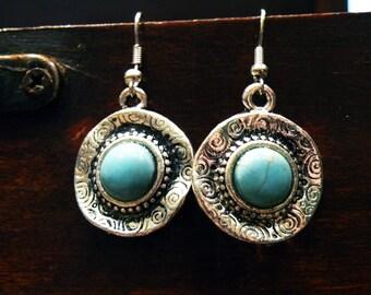 Turquoise swirl earrings ethnic jewelry