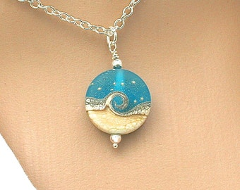 Ocean Necklace, Ocean Wave Blue Pendant, Lampwork Necklace, Sea Glass Beach Pendant, Handmade Blue Lampwork Bead, Gift For Her, 222 b