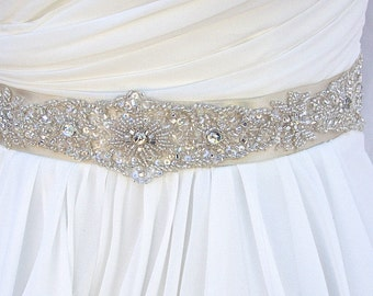 Beaded Bridal Sash-Wedding Sash In Pale Champagne,Beaded Sash, Wedding Dress Sash, Bridal Belt