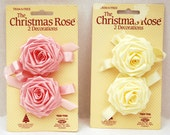 """Trim-A-Tree """" The Christmas Rose""""   Decorations  2 Pink & 2 Ivory Fabric Roses"""