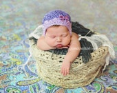 Newborn {Perfect in Purple} Shell Earflap Hat, Removable Sequin Bow Clip, Newborn Photography Prop
