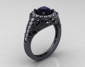 Italian 14K Matte Black Gold 1.0 Ct Black and White Diamond Engagement Ring Wedding Ring R280-14KMBGDBD