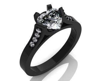 Gorgeous 14K Black Gold 1.0 Ct Heart White Sapphire Modern Wedding Ring, Engagement Ring for Women R663-14KBGWS