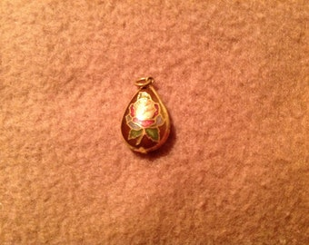 Vintage Enamel Painted Tear Drop Pendant
