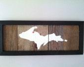 """Barn Wood Upper Peninsula """"UP"""" Wall Art"""