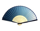 Blue mini folding fan with case, hand fan, spanish fan, japanese fan, blue fan, triangle pattern, blue&light blue shades, blue accessories