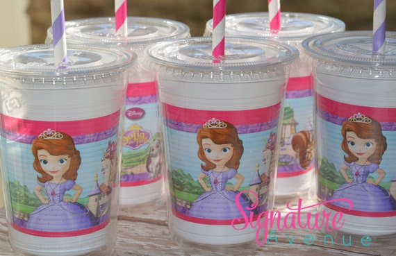 Sofia the First Party Cups-Princess Sophia Birthday-Set of 8