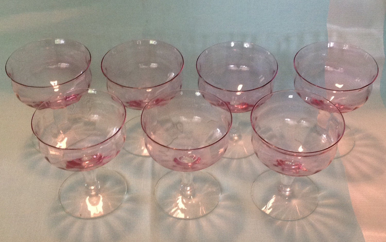 set of 7 pink fine crystal stemware glass sherbet dessert