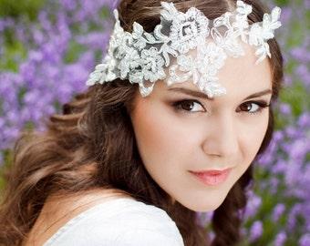 Bridal Lace Headband, wedding lace headband, floral headband, Bridal headpiece, White lace headband, Sewn headband - Ready to ship