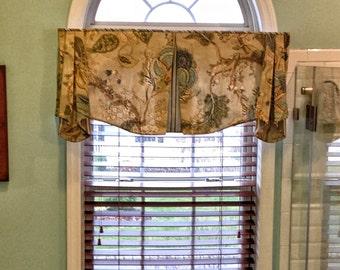 "Custom Valance MAISON Hidden Rod Pocket Valance 45""- 56"" window, Made To Order using your fabrics, my LABOR and lining"