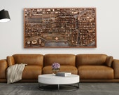 """Chicago cityscape wood wall art, made of old reclaimed barn wood. 54""""x30""""x4"""""""