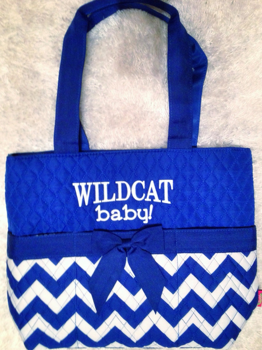 kentucky blue chevron diaper bag with changing pad by expectingfan. Black Bedroom Furniture Sets. Home Design Ideas