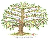 Scripture Art - Fruit of the Spirit -  Galatians 5:22-23 - Illustrated Scripture - Unframed Print