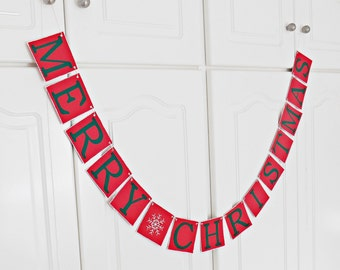 SALE, FREE SHIPPING, Merry Christmas banner, Holiday decorations, Christmas garland, Holiday photo prop sign, Red, green and white snowflake