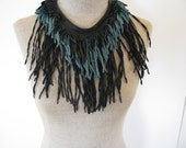 Turquoise/Black Leather Necklace/Choker/Bib