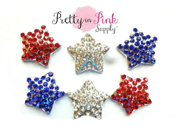 4th of July Star Rhinestone Buttons...you choose quantity... Star Rhinestone Button...Button...DIY Headband...Embellishment