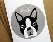 Boston Terrier Folded Thank You Note