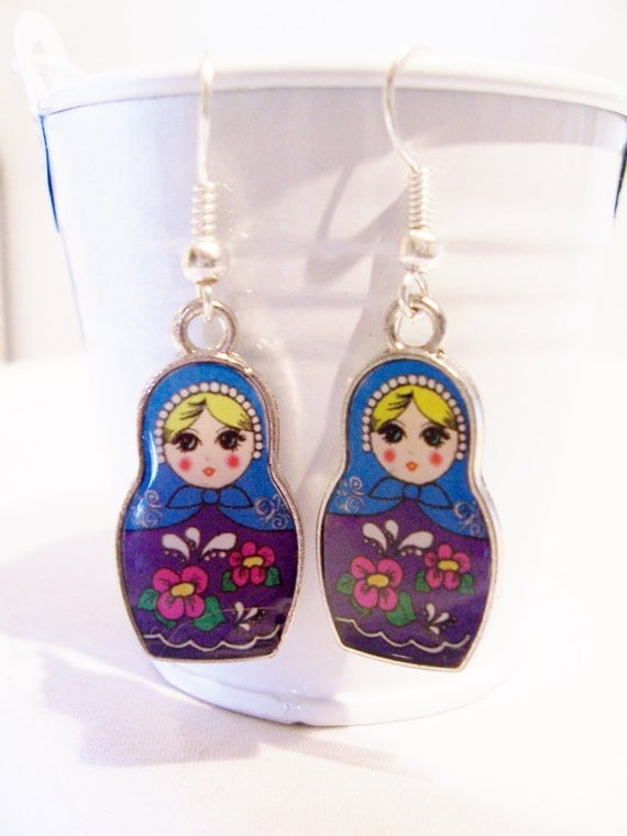 russian doll charm earrings metal and glass charm earrings