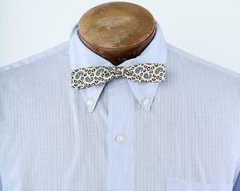 Vintage 1930s 1940s Blue Beau Brummell Silk Bow Tie Paisley Pattern Adjustable