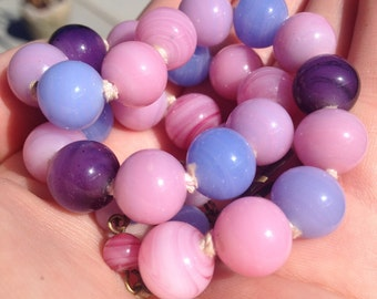 Colorful vintage glass bead necklace