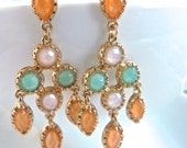 Coral Salmon Mint Aqua and Ballet Baby Pink Multicolored Chandelier Earrings.  Bridesmaids Gifts.  Chandelier Earrings.
