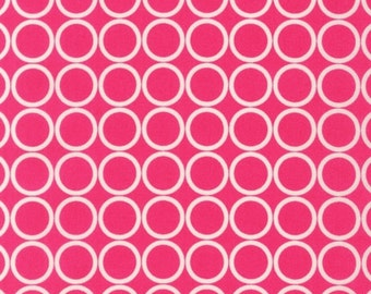 SALE 1 Yard Robert Kaufman Metro Living Circles Fabric in Fuchsia