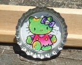 Zombie Kitty Bottle Cap Pin