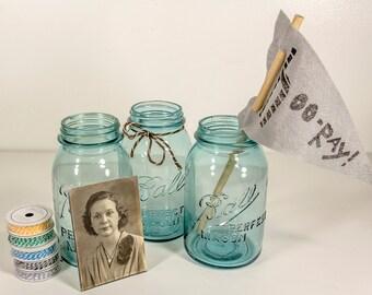 Blue Ball Mason Jars - Set of 3 (1910 - 1933)