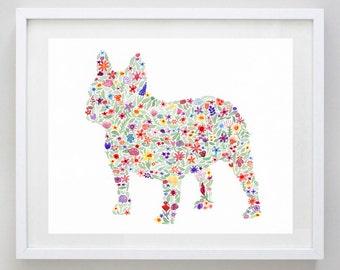 French Bulldog Floral Dog Watercolor Print
