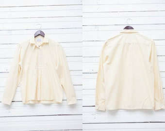 Vintage Striped Shirt / 1980's Vintage Yellow White Striped Long Sleeve Pullover Shirt /  Size M Medium 38 / Women Summer Blouse