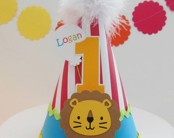Lil' Lion Circus Party Hat - Carnival -  Birthday Party Hat - Personalized