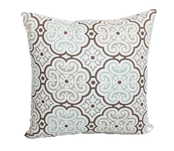 items similar to spa blue decorative pillow blue gray brown and white medallion pillow cover. Black Bedroom Furniture Sets. Home Design Ideas