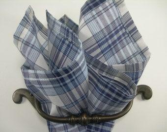 Cotton pocket square plaid