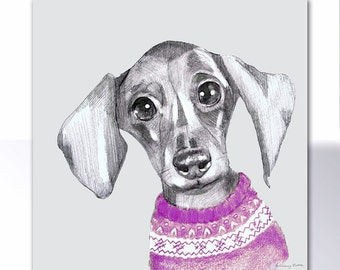 Darcy The Dacshund in his best jumper Blank Card for your own message by Bethany Moore