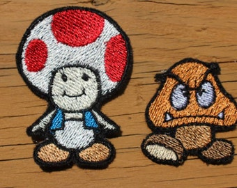 Super Mario Toad and Goomba iron-on patch