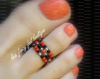 Stacking Toe Ring - Red - Black - Silver - Pattern - Stretch Bead Toe Ring