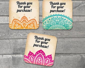 India Colors Thank You Cards - 20 Note Cards -Small Cards