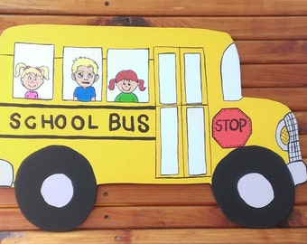 "24"" Wooden School Bus Door Hanger"