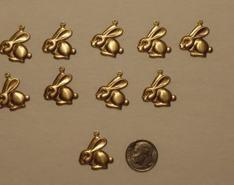 Brass bunny charms 10 pieces