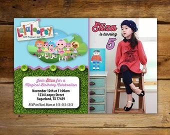 Invitaciones de cumpleaños de lalaloopsy - tarjetas personalizadas de la foto (Horizontal)