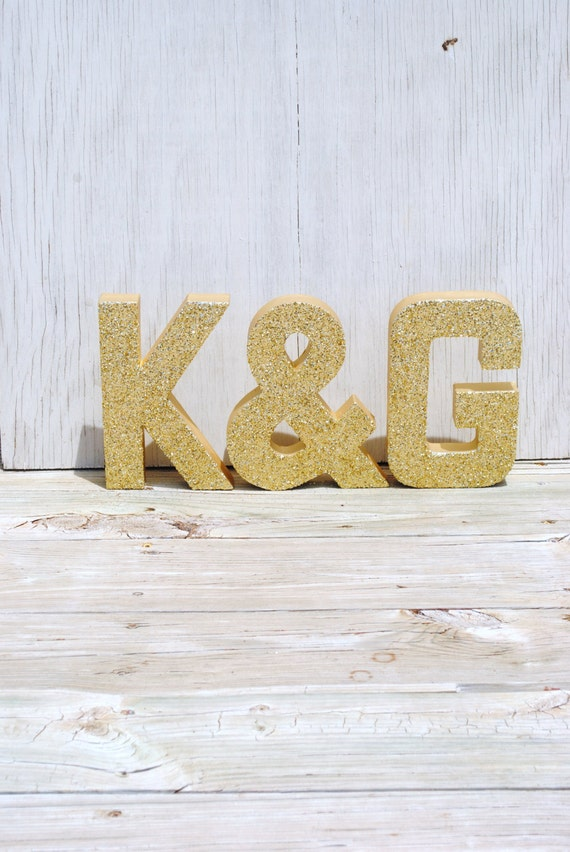 gold glitter stand up decorative letters and ampersand With stand up letters for weddings