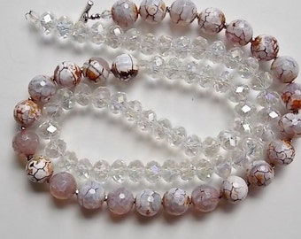 Price Reduction 12mm Crystal Beads and 14mm Dyed Agate Beads