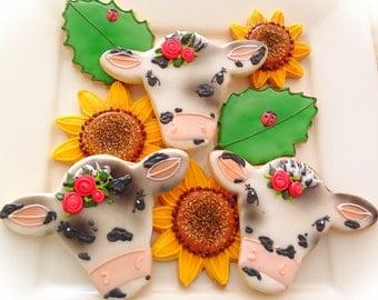 12 Vegan Cow and Sunflower Sugar Cookies