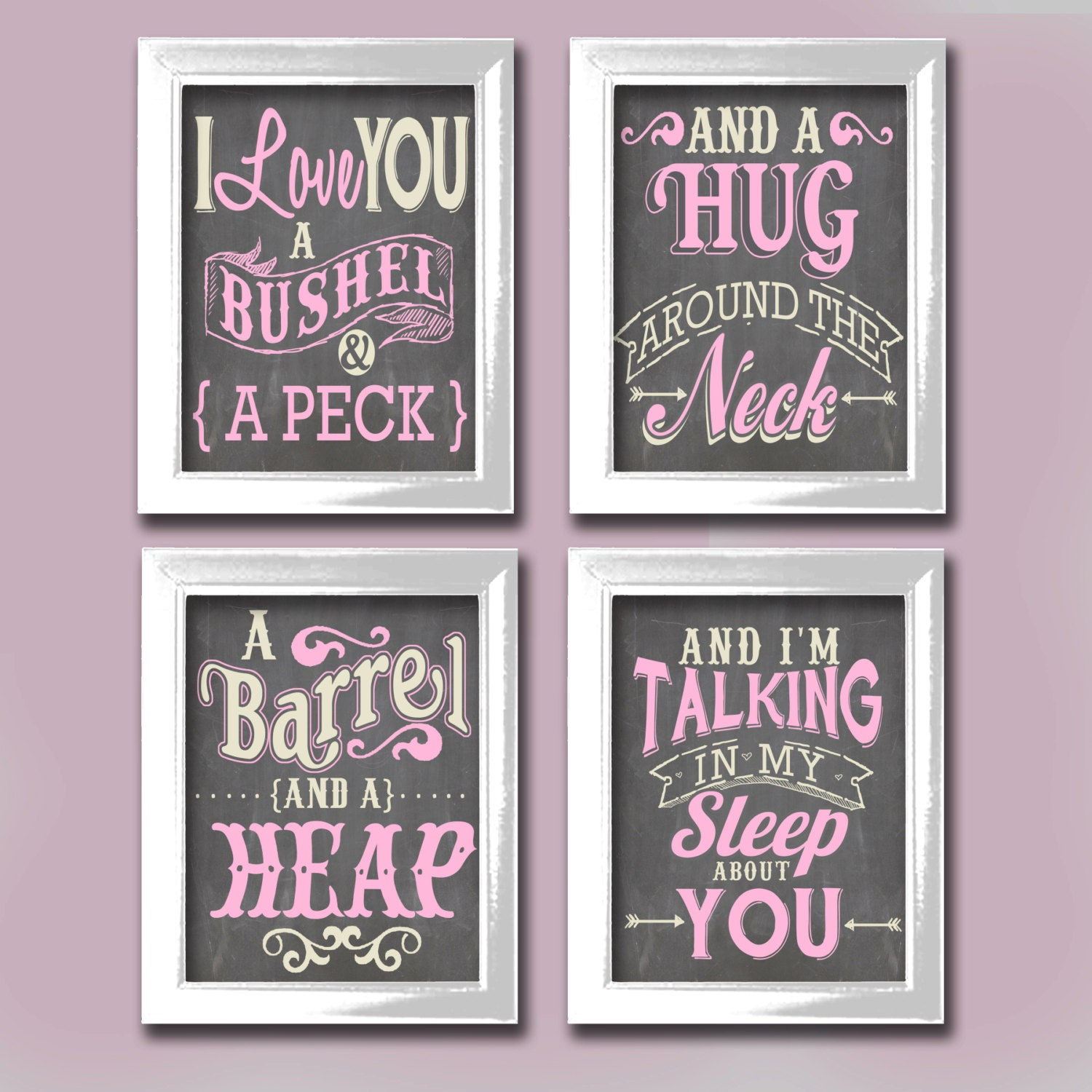 Love you a bushel nursery typography art for by designercanvases