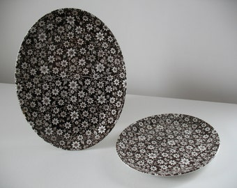 Vintage Johnson Brothers Country Cupboard Ironstone Platters, set of two / brown daisy transferware