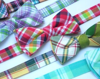 Preppy plaid bow ties for boys, wedding bow ties for ring bearers, lavender plaid bow tie, coral plaid bow tie, pink plaid bow tie