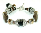 MAJOR MARKDOWN - Dramatic Rich Bronzite and Crystal Beaded Bracelet with Dangles