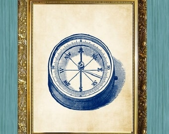 Compass Print 8 x 10 Ocean Art Nautical Art Print Natural History Print Coastal Art Print